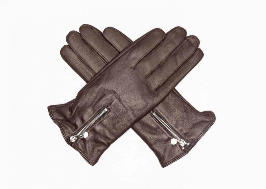 2001032 Damehansker med glidelaas og ullfor - dark brown