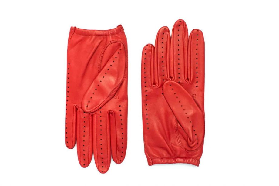 Kjørehansker til dame i lammeskinn uten fôr, rød, undersiden av hanskene, artikkel 2-197