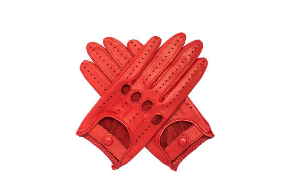 Kjørehansker til dame i lammeskinn uten fôr, rød, hanskene i kryss sett ovenfra, artikkel 2-197