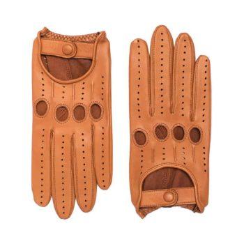Kjørehansker til dame i lammeskinn uten fôr, saddle brown, oversiden av hanskene, artikkel 2-197