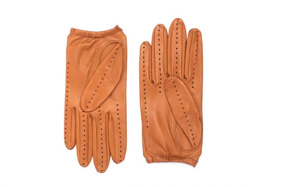 Kjørehansker til dame i lammeskinn uten fôr, saddle brown, undersiden av hanskene, artikkel 2-197