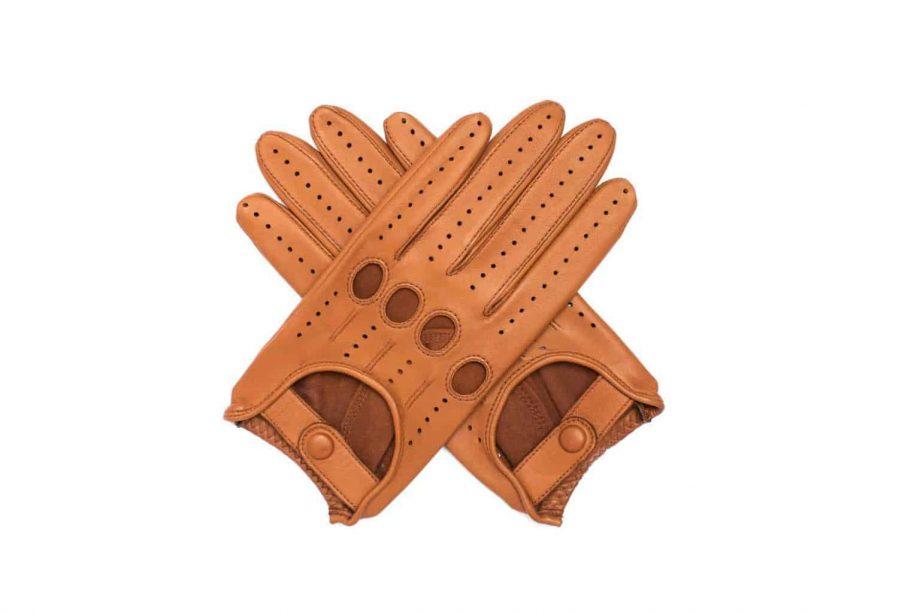Kjørehansker til dame i lammeskinn uten fôr, saddle brown, hanskene i kryss sett ovenfra, artikkel 2-197