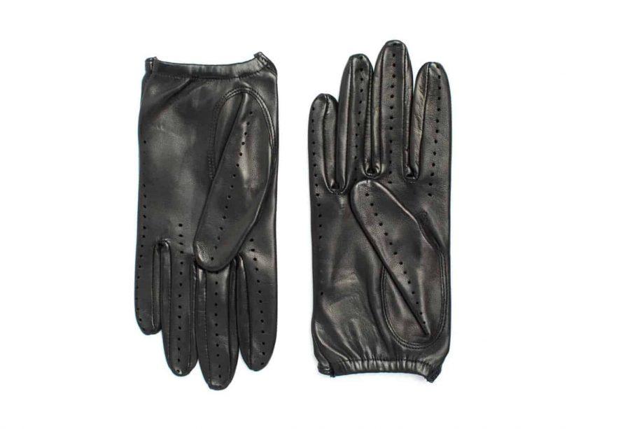 Kjørehansker til dame i lammeskinn uten fôr, sort, undersiden av hanskene, artikkel 2-197