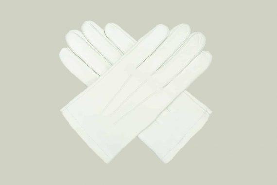 Herre losjehansker hvite, overside, i kryss