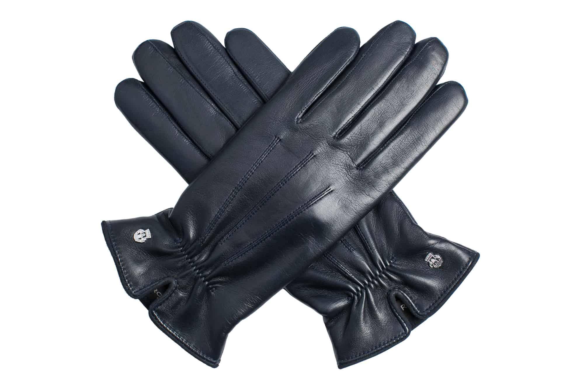 Eksklusive Roeckl-hansker til dame i lammeskinn 13011, marine blå, oversiden av hanskene, i kryss