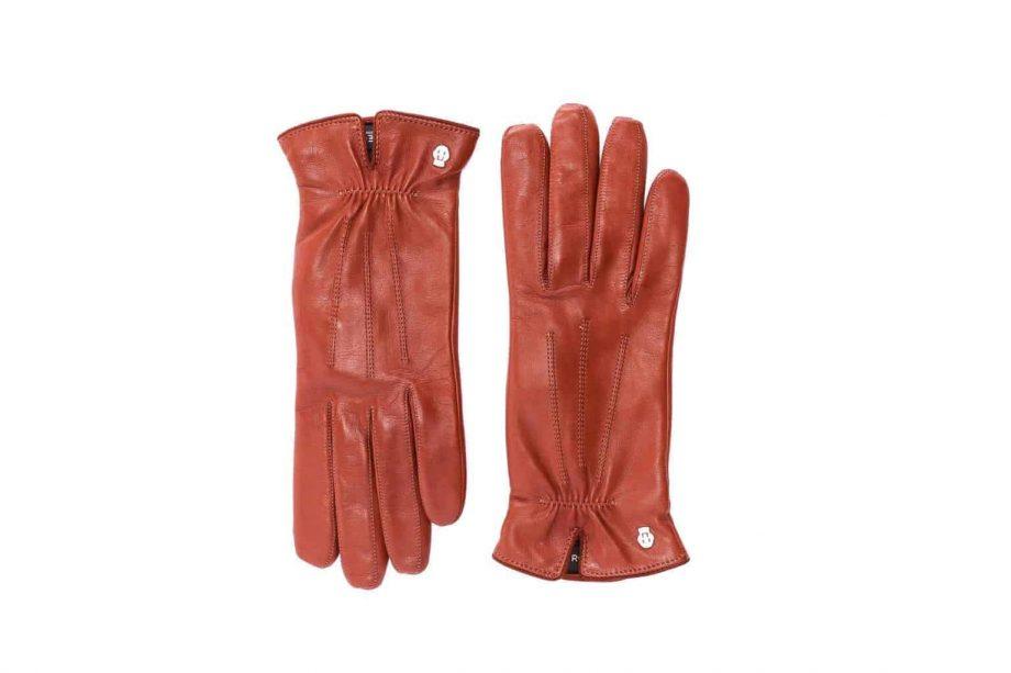 Eksklusive Roeckl-hansker til dame i lammeskinn 13011, kork brun saddle brown, oversiden av hanskene