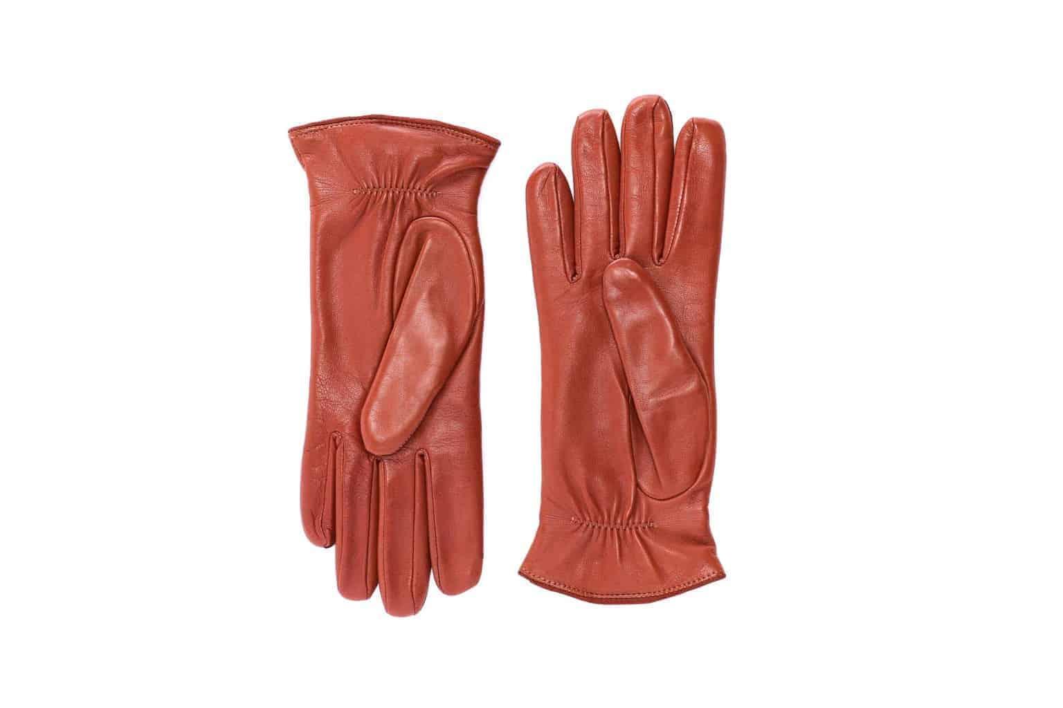Eksklusive Roeckl-hansker til dame i lammeskinn 13011, kork brun saddle brown, undersiden av hanskene