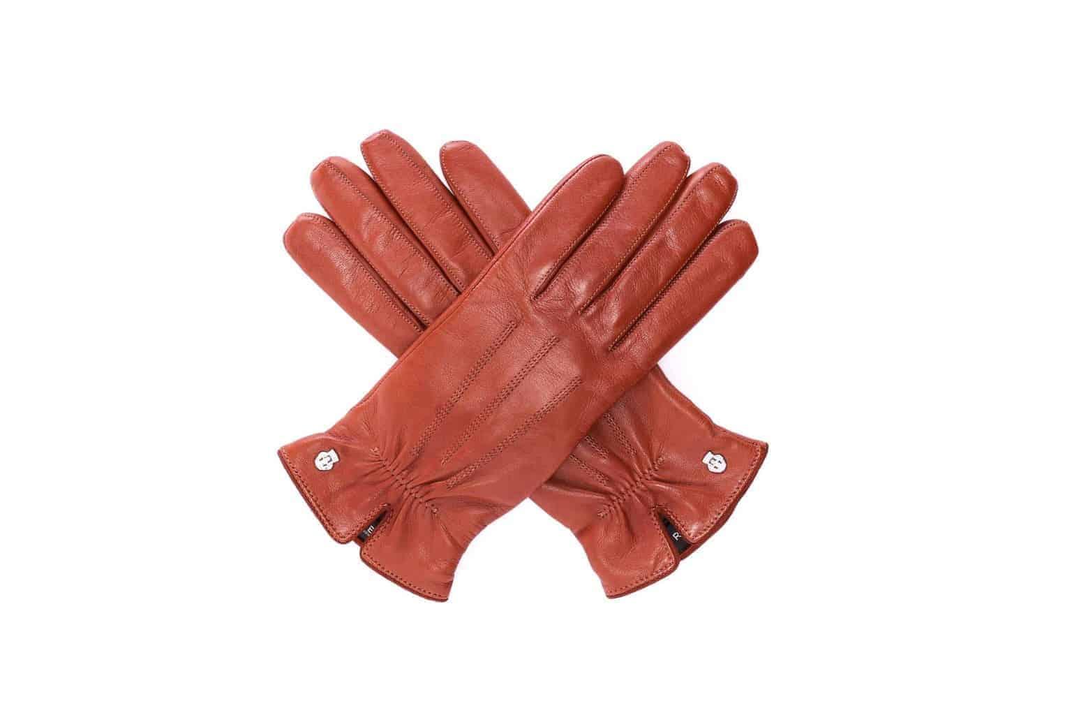 Eksklusive Roeckl-hansker til dame i lammeskinn 13011, kork brun saddle brown, oversiden av hanskene, i kryss