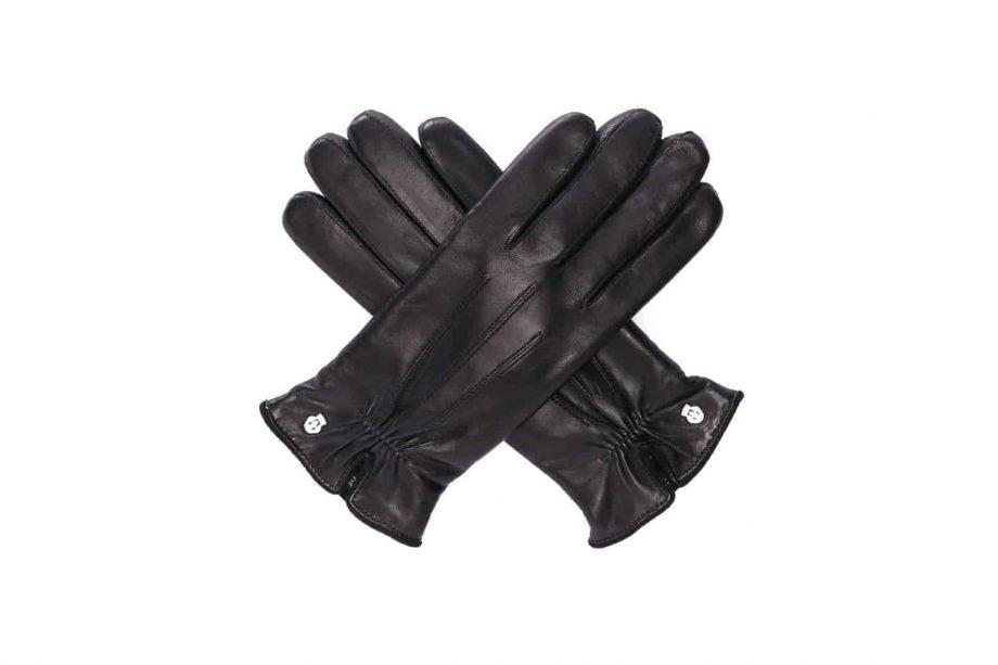 Eksklusive Roeckl-hansker til dame i lammeskinn 13011, sort, overside i kryss