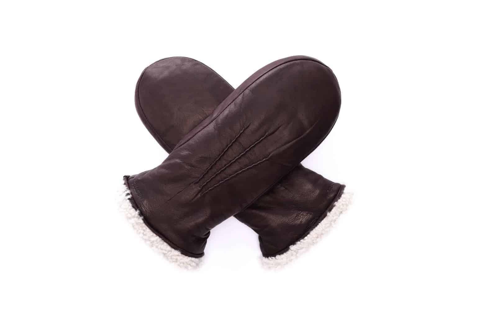 Hestra-votter til dame med pelsfôr 19171, espresso mørkebrun - overside vott i kryss