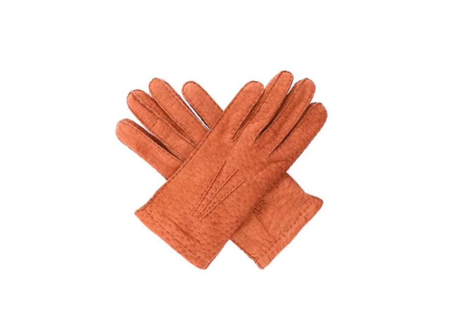 2-8041 - Villsvinshansker til dame med alpakkafôr - kork - oversiden av hanskene i kryss