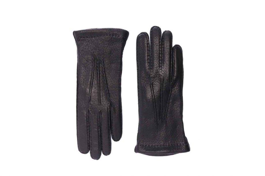 2-8041 - Villsvinshansker til dame med alpakkafôr - sort - oversiden av hanskene