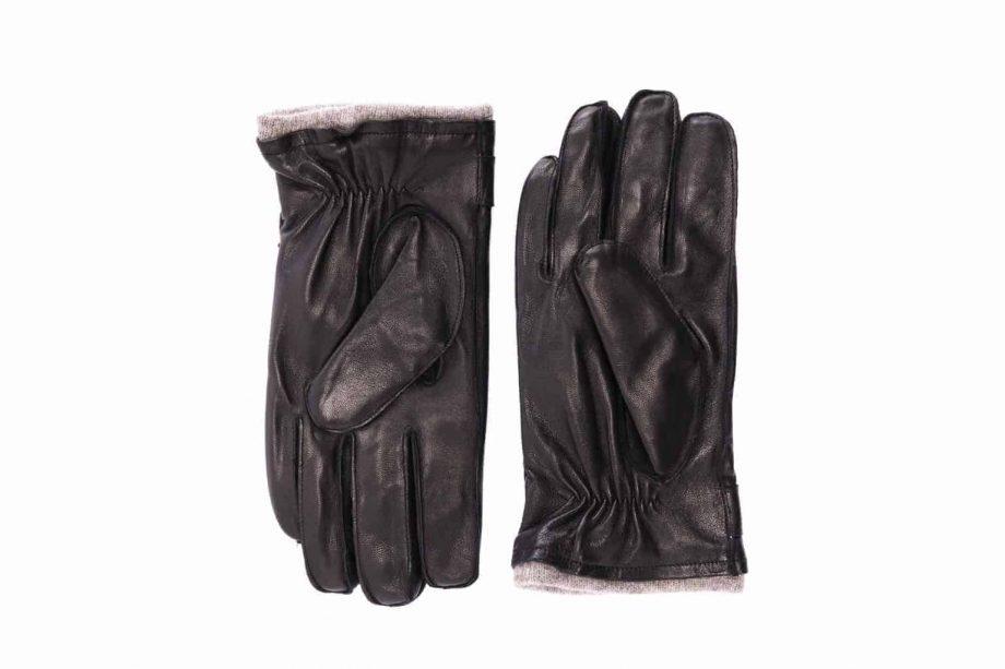 Herrehansker med stropp og fôrkant, sort, 1-5780, undersiden av hanskene