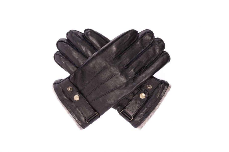 Herrehansker med stropp og fôrkant, sort, 1-5780, hanskene i kryss