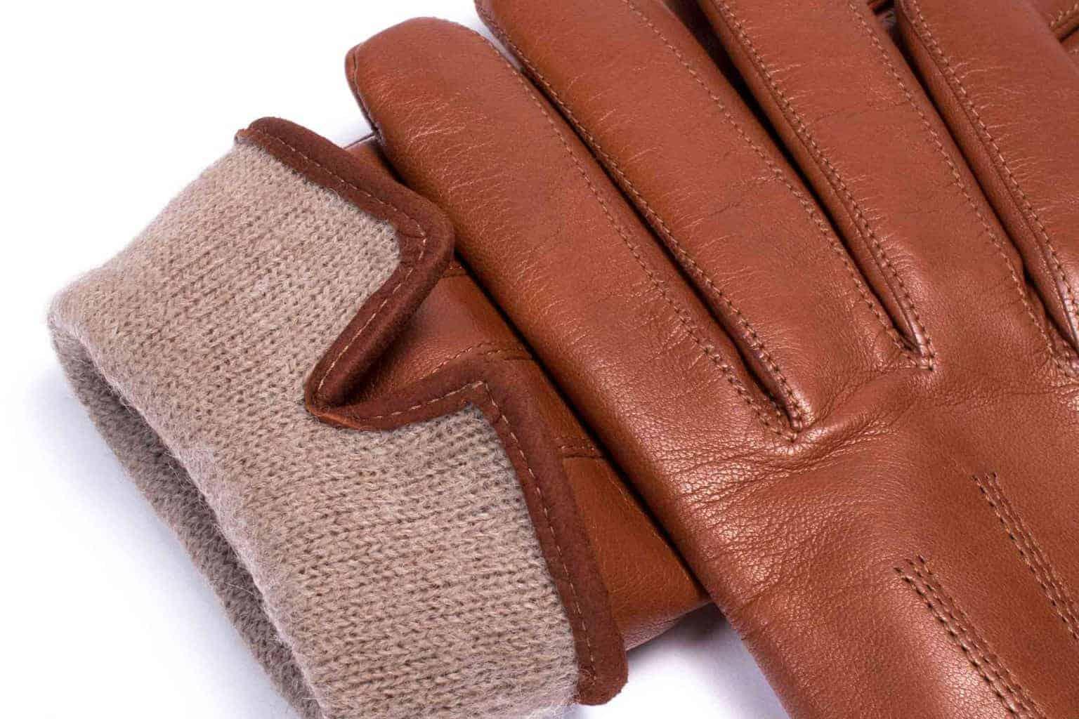 Eksklusive Roeckl-hansker til dame i lammeskinn 13011, brun saddle brown kork, detaljbilde av fôrkant