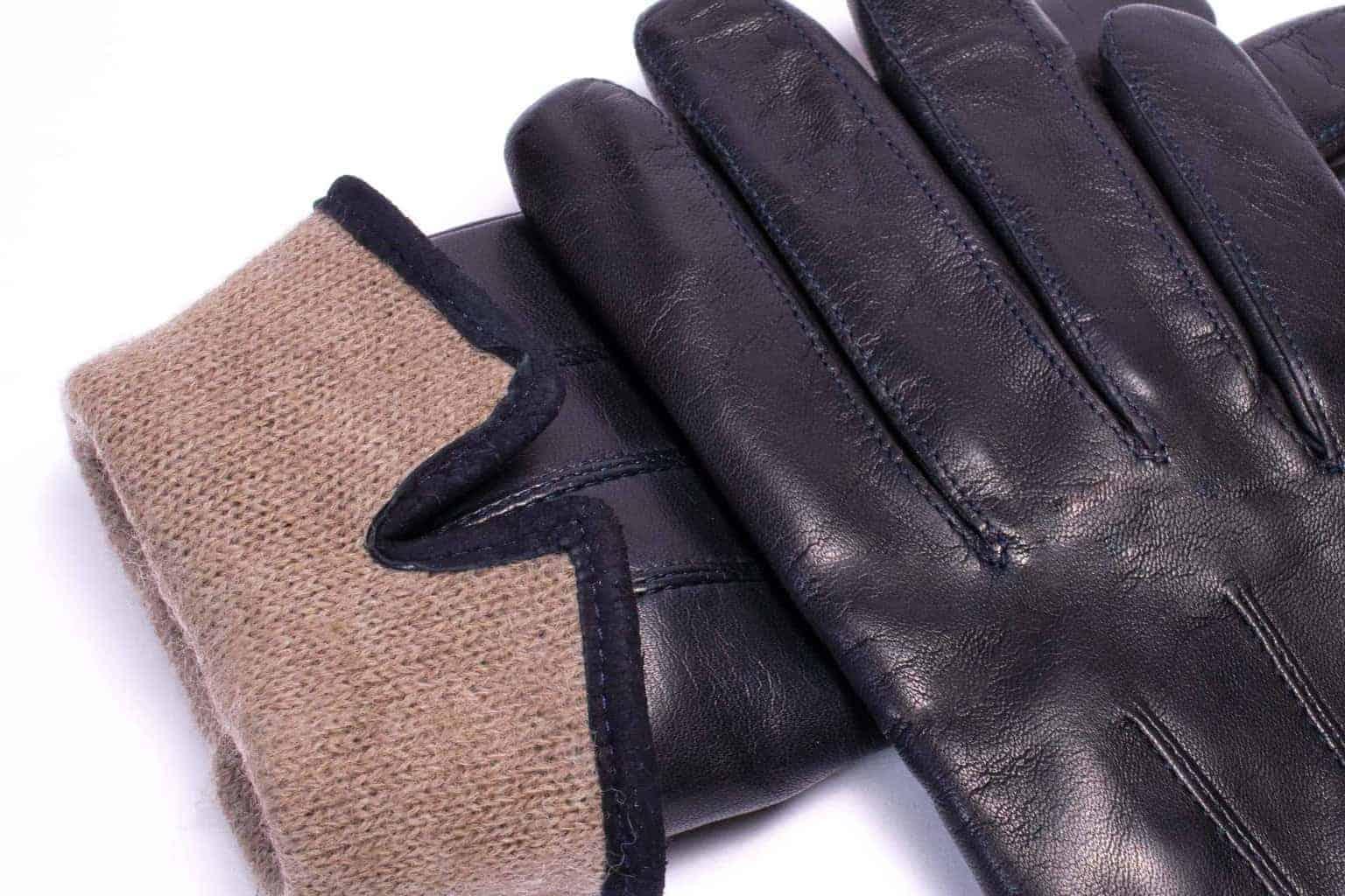 Eksklusive Roeckl-hansker til dame i lammeskinn 13011, marine blå, detaljbilde av fôrkant
