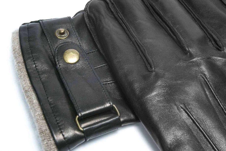 Herrehansker med stropp og fôrkant, sort, 5780 detalj
