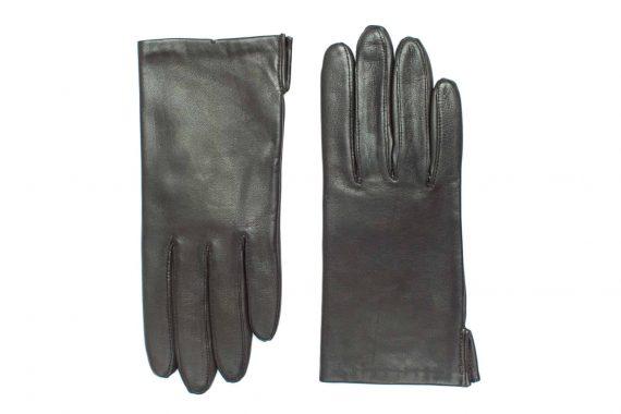 Vårhansker til dame i lammeskinn med nylonfôr, glatte, mørkebrun, oversiden av hanskene, artikkel 2-197