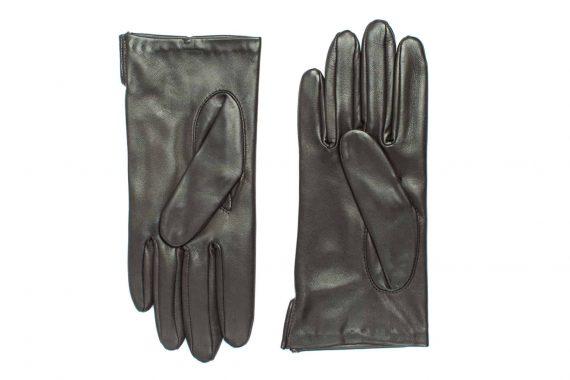 Vårhansker til dame i lammeskinn med nylonfôr, glatte, mørkebrun, undersiden av hanskene, artikkel 2-197