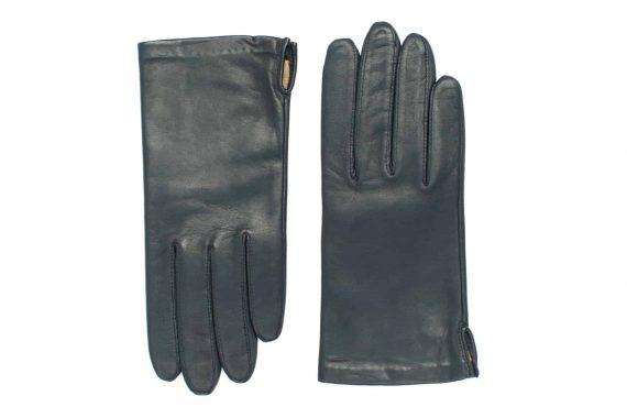 Vårhansker til dame i lammeskinn med nylonfôr, glatte, marine, oversiden av hanskene, artikkel 2-197