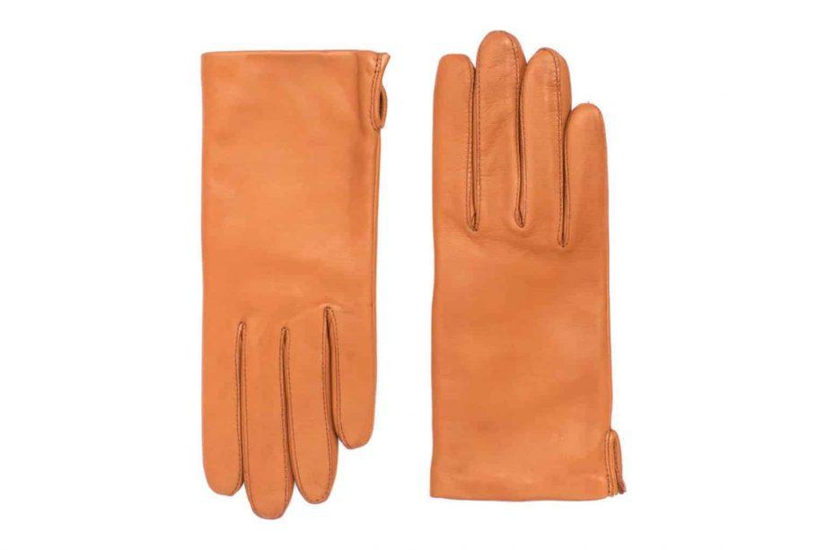 Vårhansker til dame i lammeskinn med nylonfôr, glatte, saddle brown, oversiden av hanskene, artikkel 2-197