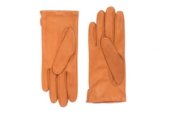 Vårhansker til dame i lammeskinn med nylonfôr, glatte, saddle brown, undersiden av hanskene, artikkel 2-197