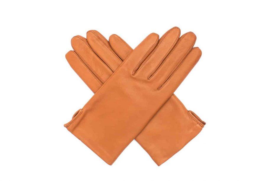 Vårhansker til dame i lammeskinn med nylonfôr, glatte, saddle brown, hanskene i kryss sett ovenfra, artikkel 2-197