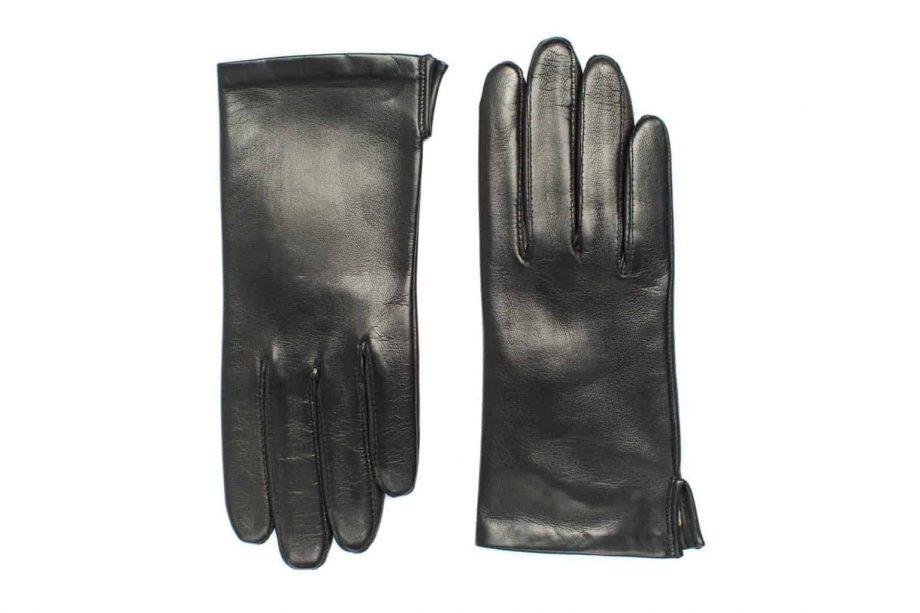 Vårhansker til dame i lammeskinn med nylonfôr, glatte, sort, oversiden av hanskene, artikkel 2-197