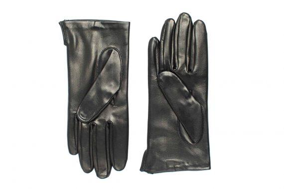 Vårhansker til dame i lammeskinn med nylonfôr, glatte, sort, undersiden av hanskene, artikkel 2-197