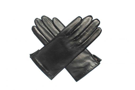 Vårhansker til dame i lammeskinn med nylonfôr, glatte, sort, hanskene i kryss sett ovenfra, artikkel 2-197