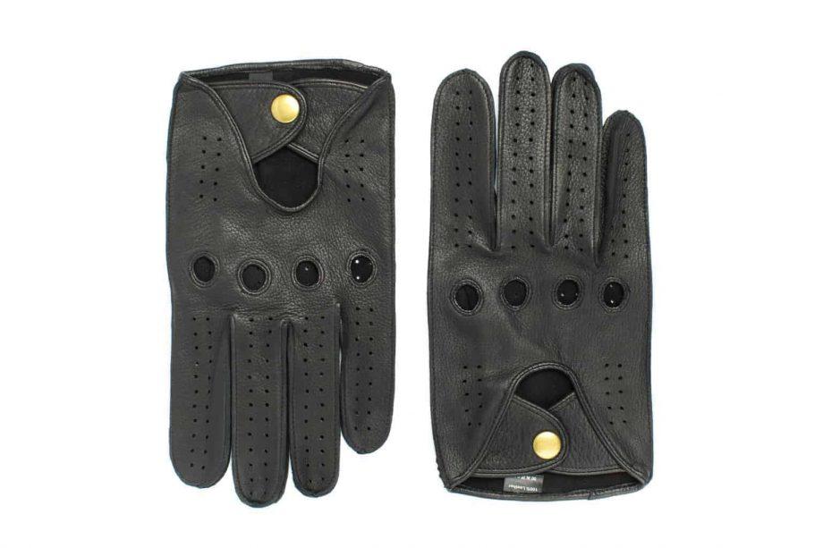 Kjørehansker til herre i hjorteskinn, sort, oversiden av hanskene, artikkel 1-1464