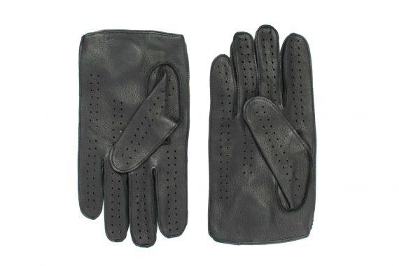 Kjørehansker til herre i hjorteskinn, sort, undersiden av hanskene, artikkel 1-1464