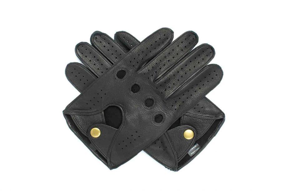 Kjørehansker til herre i hjorteskinn, sort, oversiden av hanskene i kryss, artikkel 1-1464