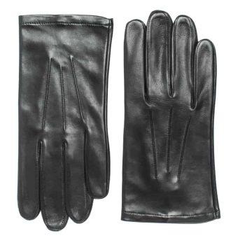 Uniformshansker til herre i lammeskinn uten fôr, tre flate denter, sort, oversiden av hanskene, artikkel 1-406