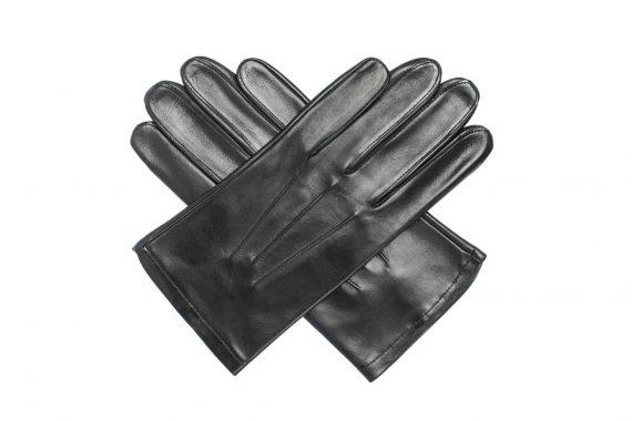 Uniformshansker til herre i lammeskinn uten fôr, tre flate denter, sort, oversiden av hanskene lagt i kryss, artikkel 1-406