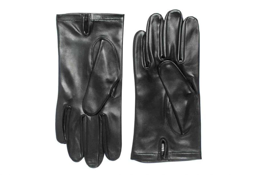 Uniformshansker til herre i lammeskinn uten fôr, tre flate denter, sort, undersiden av hanskene, artikkel 1-406