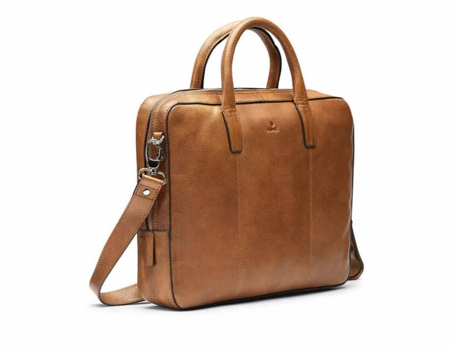 272125 ADAX Napoli working bag Glenn 14 cognac side
