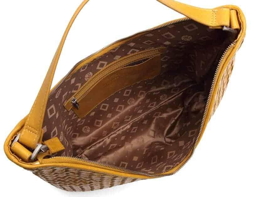 294099 ADAX Bacoli shoulder bag Mindy_gul_mustard_skulderveske_innside