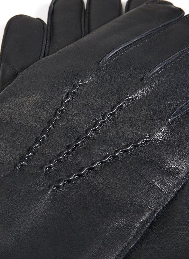 5-1539 DENTS Burford klassiske herrehansker med cashmere - detalj overside - sort.jpg
