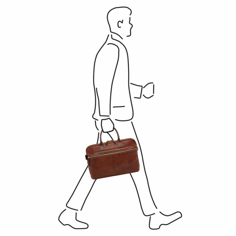 59 9473 Castelijn Beerens Sam Laptop bag light brown illustrasjon