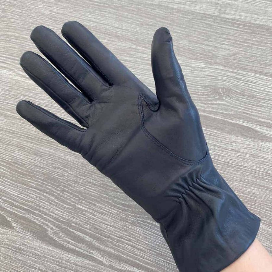 70914504 damehansker silkefor navy halvlange 3 tommer - underside hand