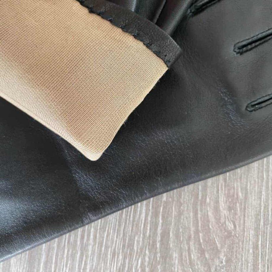 70914904 lange damehansker silkefor - sort - 6 tommer - detalj for