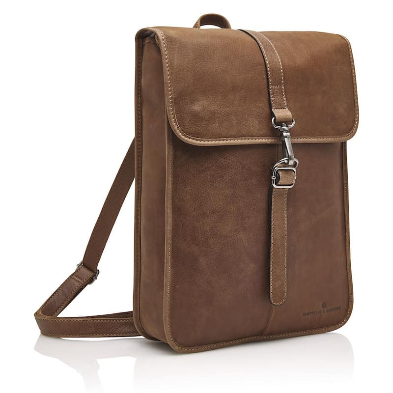72 9575 Castelijn _ Beerens - Carisma - Laptop Backpack 15.6_ RFID - cognac side