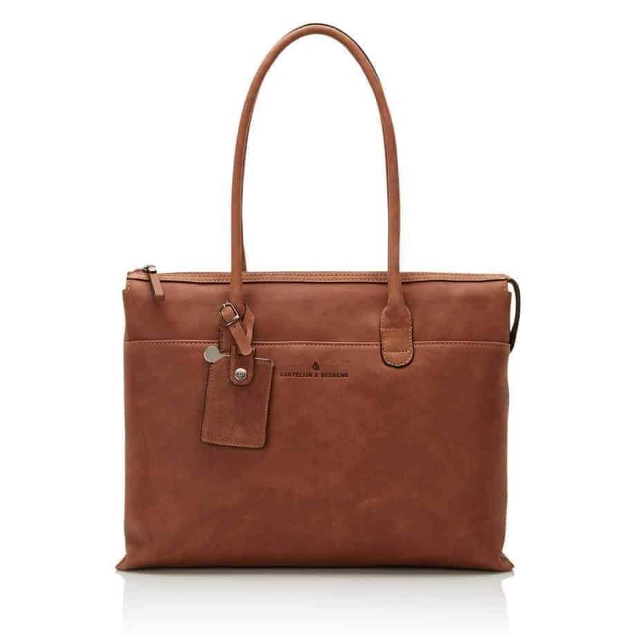 72 9761 Castelijn Beerens laptop shoulderbag cognac forside