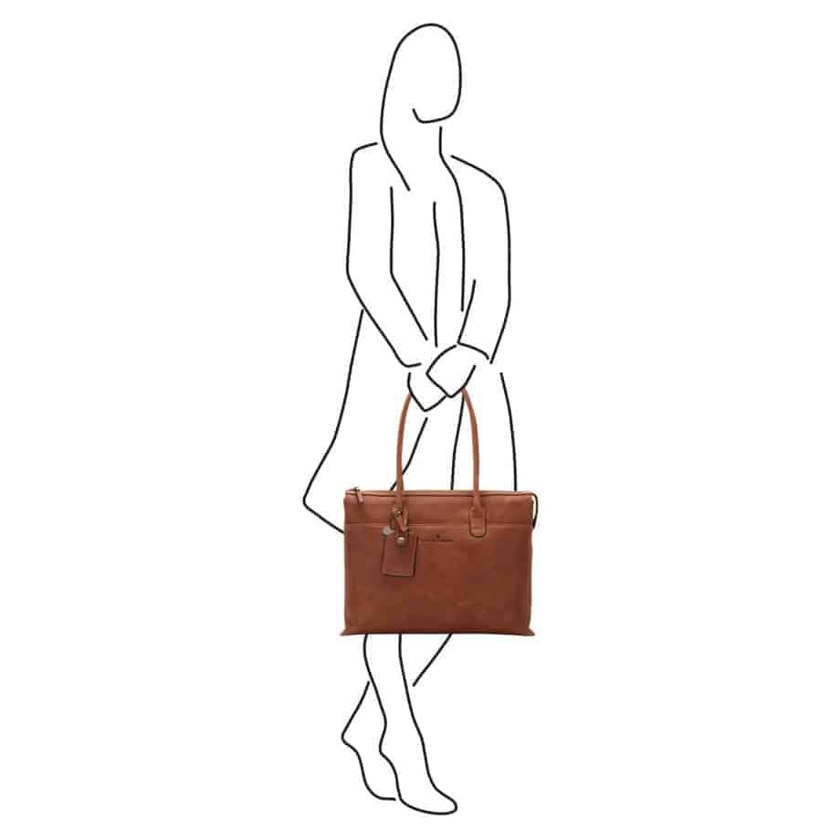 72 9761 Castelijn Beerens laptop shoulderbag cognac illustrasjon