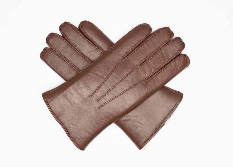 8129-8 herrehansker med pels - mocca brown - hanskene i kryss