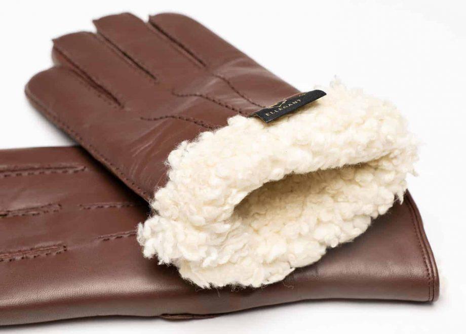 8129-8 herrehansker med pels - mocca brown - innsiden av hanskene illustrasjon