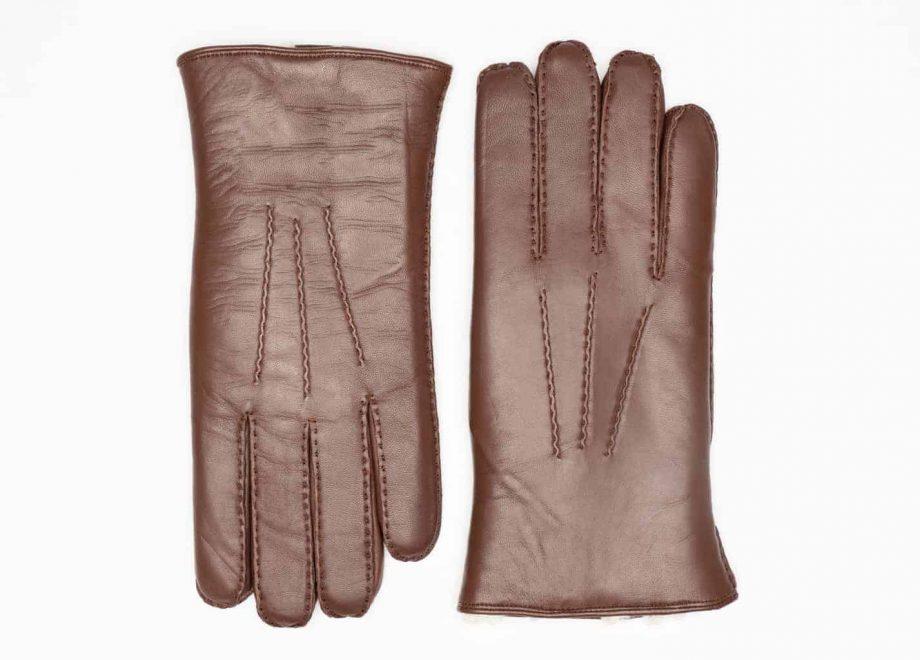 8129-8 herrehansker med pels - mocca brown - oversiden av hanskene