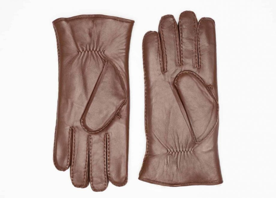 8129-8 herrehansker med pels - mocca brown - undersiden av hanskene