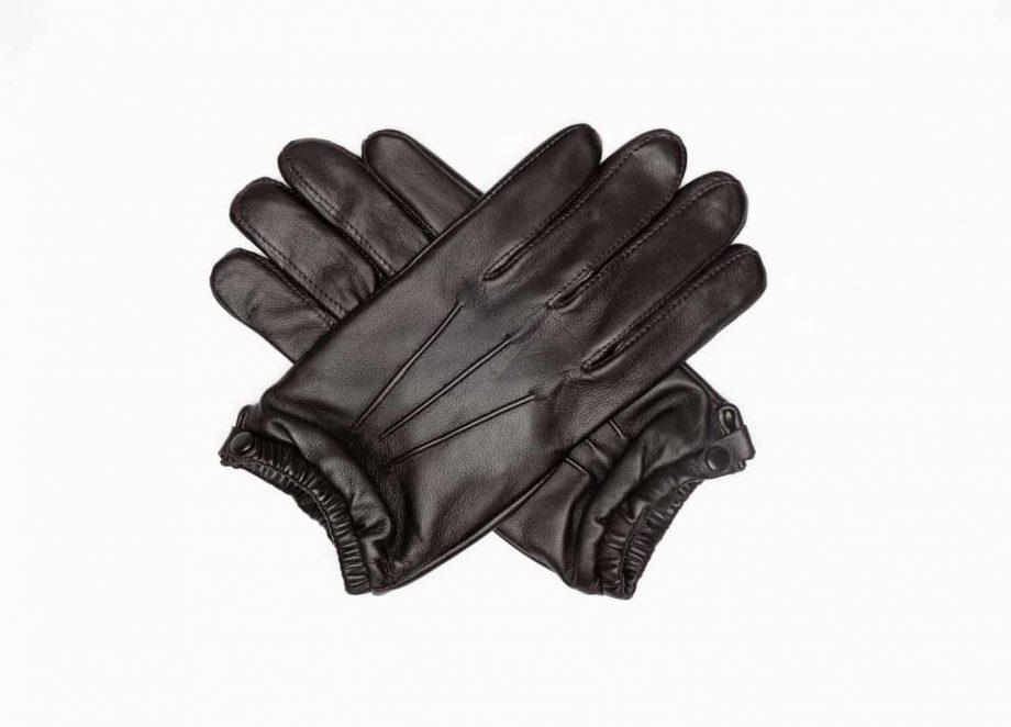 8232-1 Kort herrehanske med knapp, strikk og ullfor, Shooting glove - brun-hansker i kryss